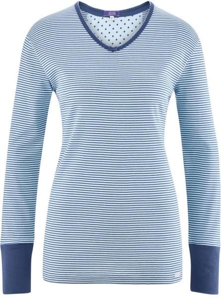 Schlaf-Shirt aus Bio-Baumwolle - bleu/stripes
