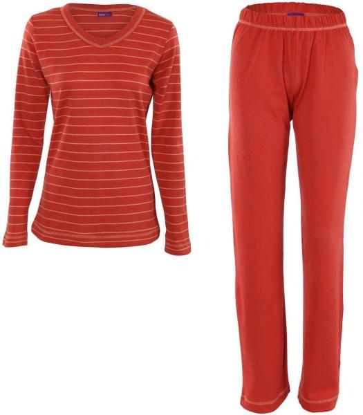 Frauen V-Neck Schlafanzug aus Bio-Baumwolle - orange-gestreift - Bild 1