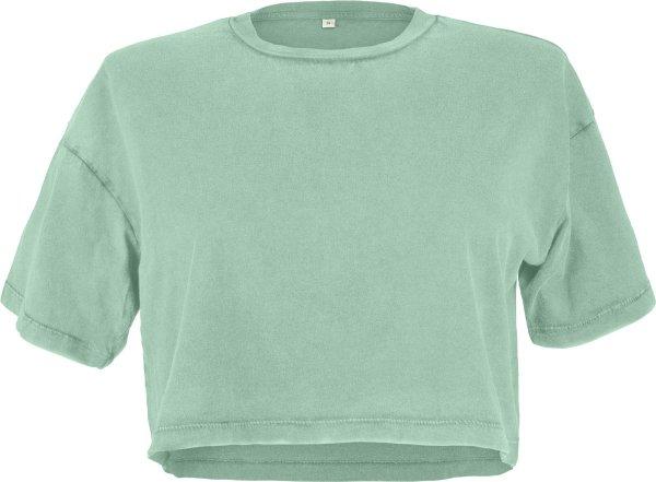 Cropped T-Shirt aus Biobaumwolle - stone sage