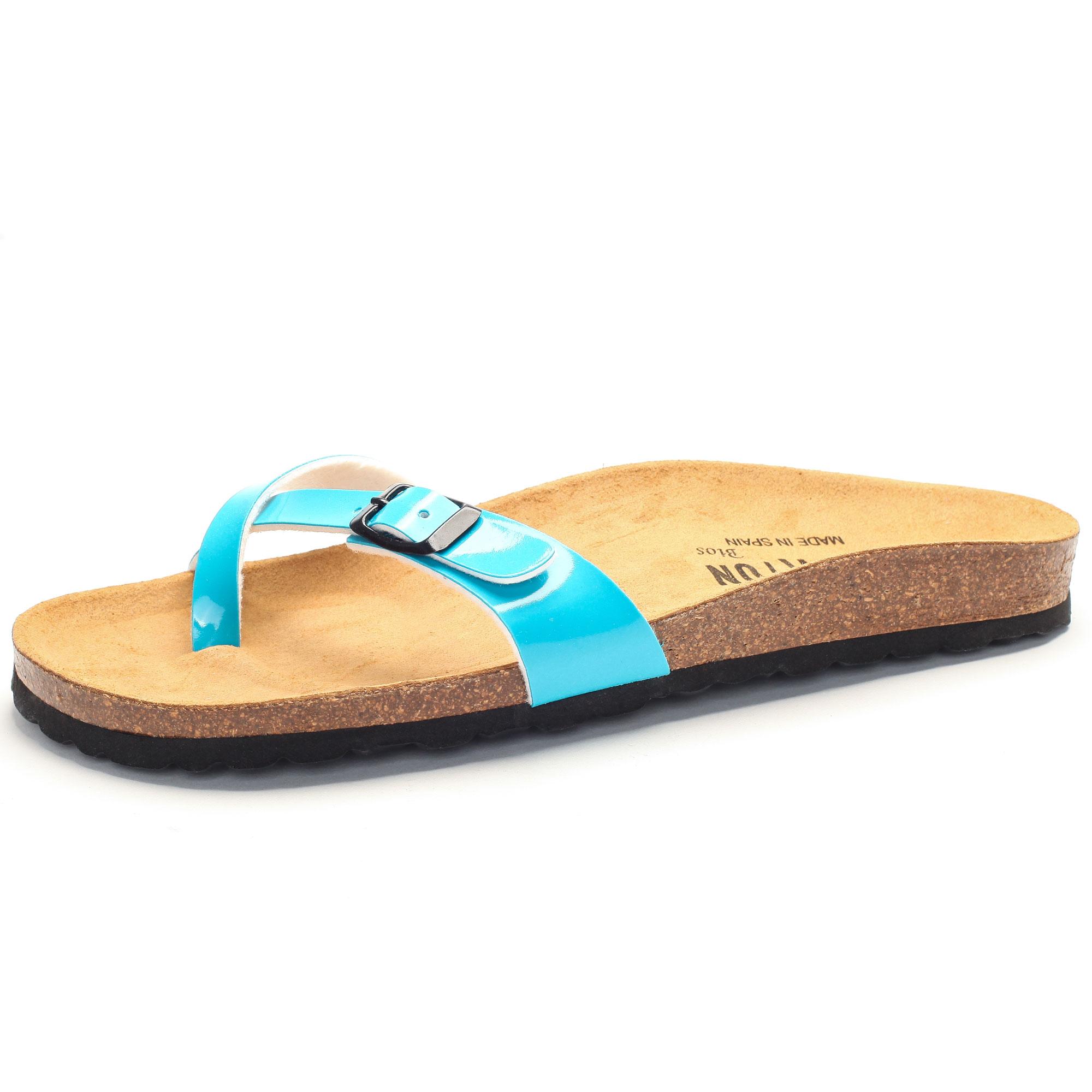 Zehensandale mit Fußbett charol sintetico aqua