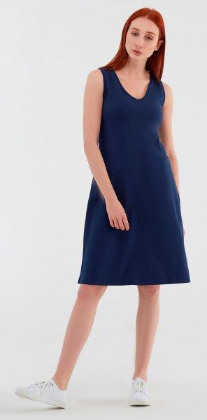 Ärmelloses Kleid aus Bio-Baumwolle - navy