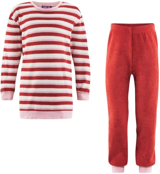 Kinder Schlafanzug rot gestreift Biobaumwolle 8348