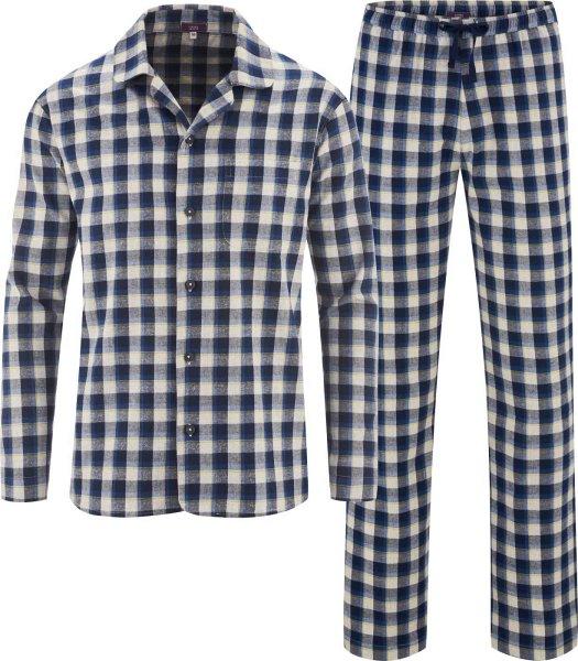 Flanell-Schlafanzug aus Bio-Baumwolle - navy/grey