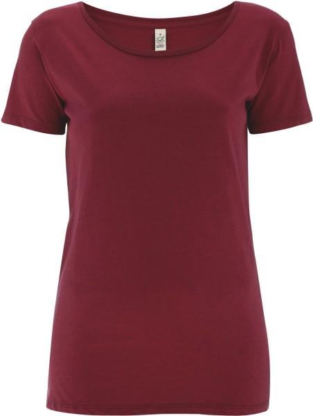 Open Neck T-Shirt - Biobaumwolle - burgundy