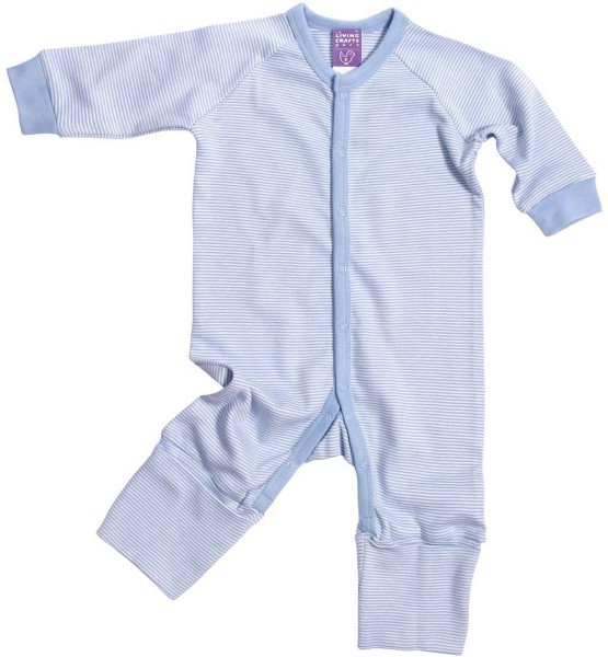 Baby Schlafanzug einteilig hellblau gestreift Biobaumwolle