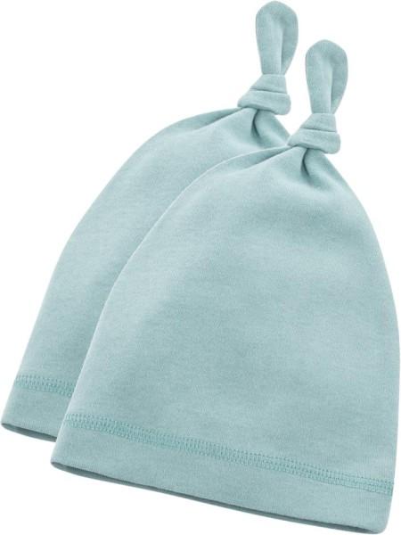 Baby Mützchen aus Bio-Baumwolle - 2er-Pack - dusty aqua