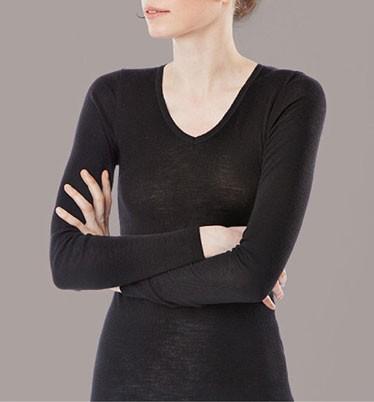 Langarm-Shirt V-Ausschnitt/Spitze - Wolle/Seide schwarz - Bild 1