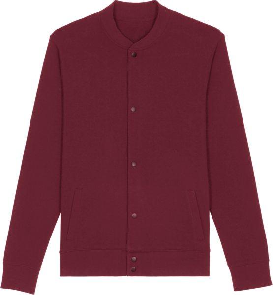 Sweatshirt-Bomberjacke aus Bio-Baumwolle - burgundy
