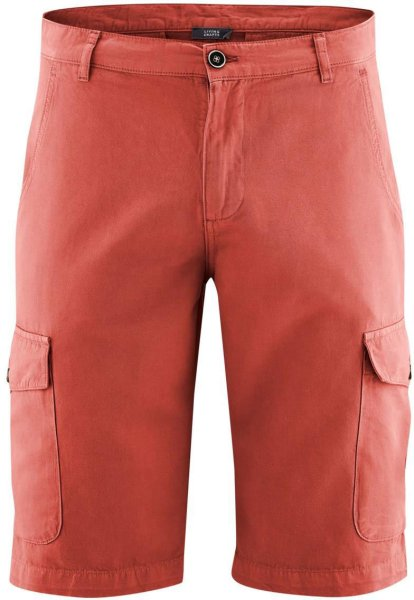 Bermuda-Shorts aus Bio-Baumwolle und Bio-Leinen - rosso