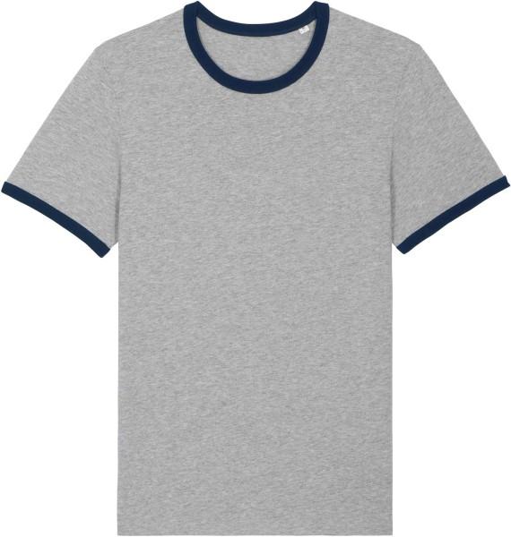 Retro T-Shirt aus Bio-Baumwolle - heather grey/french navy