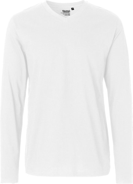 V-Neck Langarmshirt aus Fairtrade Bio-Baumwolle - white