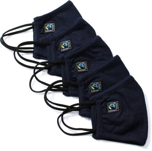 Behelfsmaske aus Fairtrade Bio-Baumwolle - 5er-Pack - navy