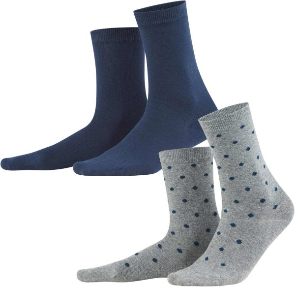 Damen Socken aus Bio-Baumwolle - Doppelpack - night blue/dots