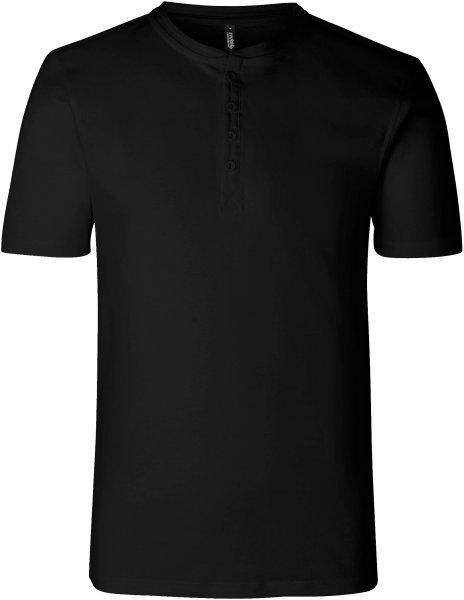 Organic Short Sleeve Granddad T-Shirt Fairtrade schwarz