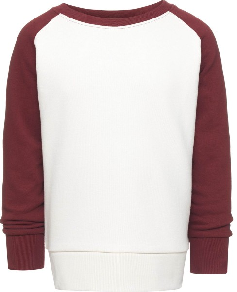 Kinder Mini Contrast - Unisex Sweatshirt BioBaumwolle - natur/burgundy