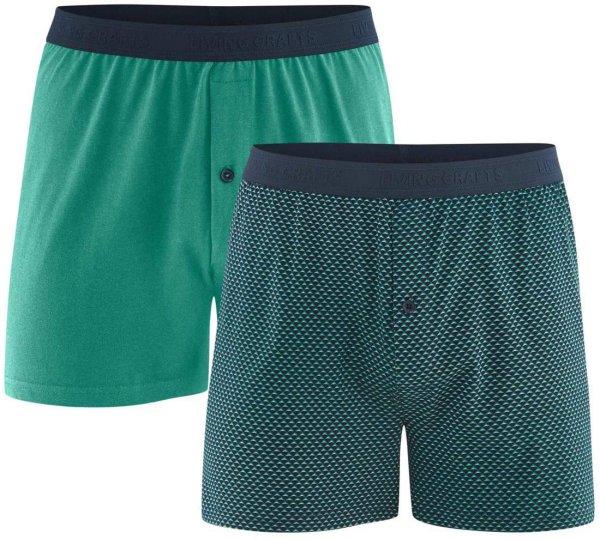 Boxer-Shorts aus Bio-Baumwolle - Doppelpack - navy/evergreen