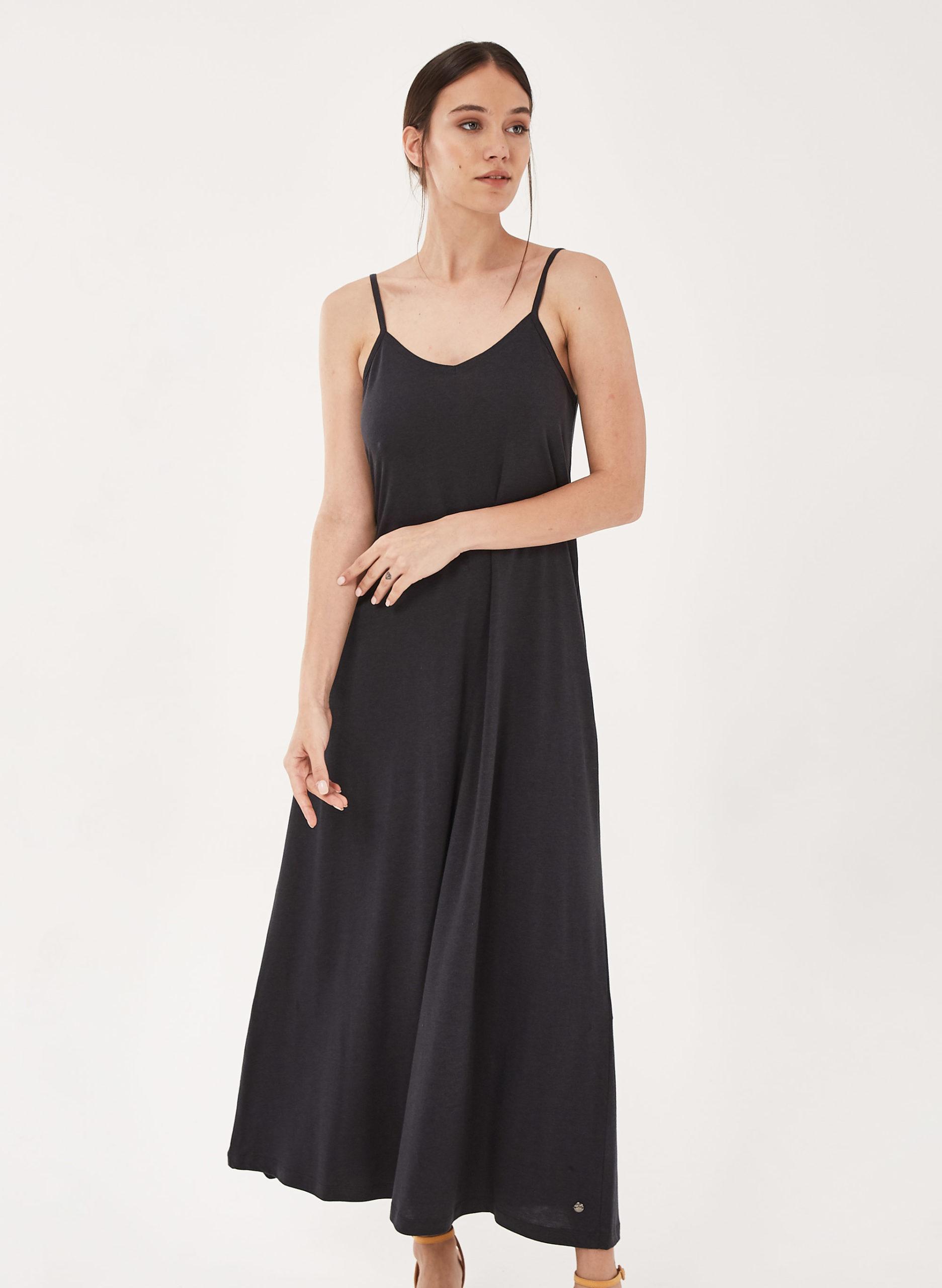 Spaghettiträger-Kleid aus Tencel und Bio-Baumwolle - onyx