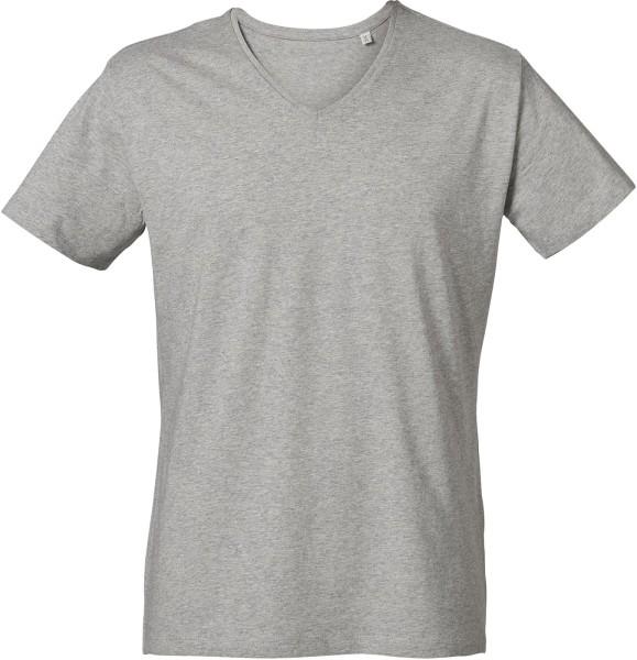 finest selection fd5ed 86d2b T-Shirt mit V-Ausschnitt aus Bio-Baumwolle - grau meliert