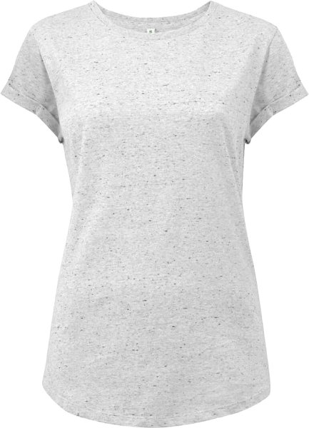 Organic Rolled Sleeve T-Shirt - white marl