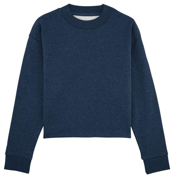 Kurzes Sweatshirt Bio-Baumwolle - black heather blue
