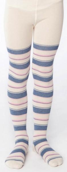Kinder Strumpfhose aus Bio-Baumwolle - natural/blue/pink striped