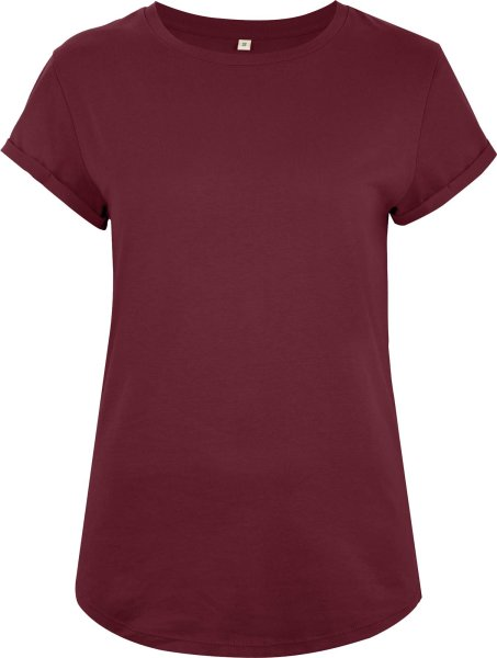 Organic Rolled Sleeve T-Shirt - burgundy