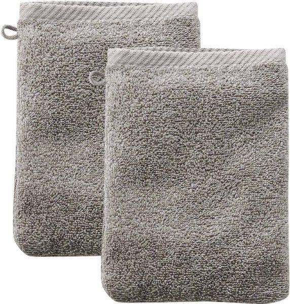 Doppelpack Waschhandschuhe aus Bio-Baumwolle 22x16 cm kaschmir