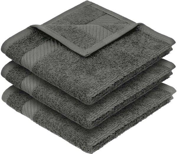 Handtuch aus Bio-Baumwolle 3er-Pack - 30x30 dunkelgrau - Bild 1