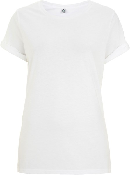 Organic Rolled-Up Sleeve T-Shirt - weiß