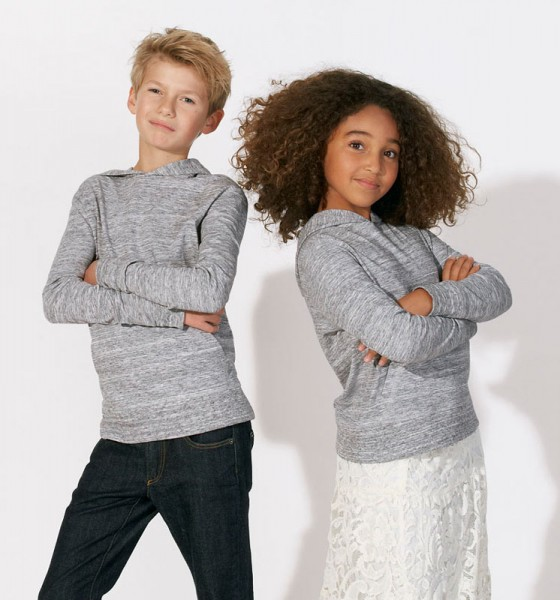 Kinder Longsleeve Biobaumwolle - Mini Bloom - slub heather grey - Bild 1