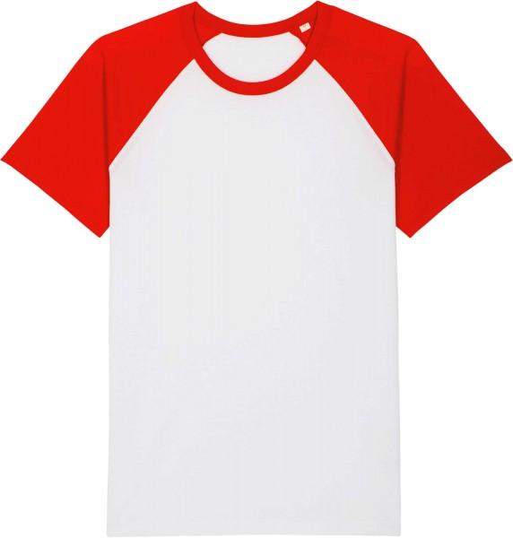 Unisex Baseball-Shirt aus Bio-Baumwolle - white/bright red