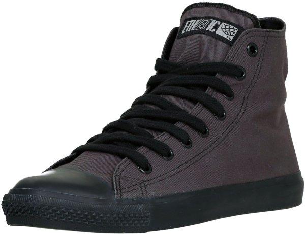Casual Fairtrade Sneaker knöchelhoch aus Biobaumwolle, dunkelgrau-schwarz