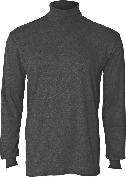 Rollkragen-Langarmshirt aus Mischgewebe - dunkelgrau meliert