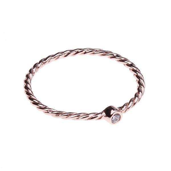 Ring mit Zirkonia – rosé vergoldet