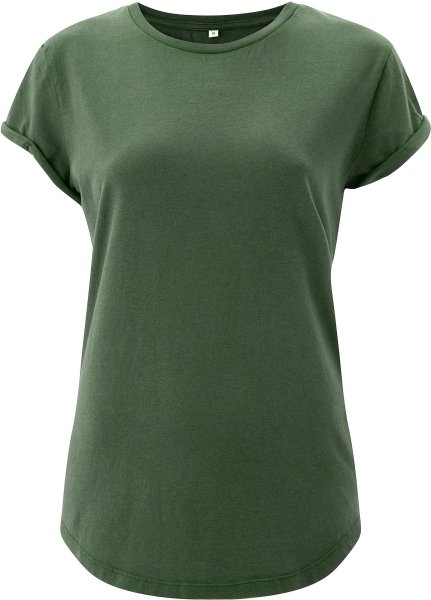 front EP16 Organic Shirt Frauen Rolled Up Sleeve stone green