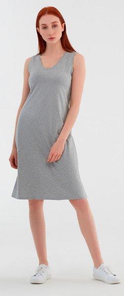 Ärmelloses Kleid aus Bio-Baumwolle - grau-melange
