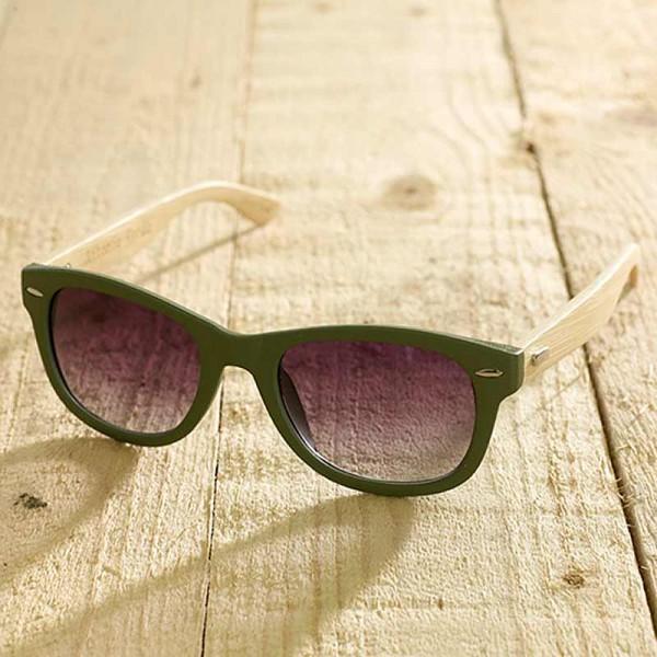 Trento - Sonnenbrille aus recyl. Kunststoff & Bambus - grün - Bild 1