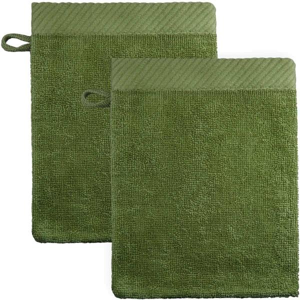 Waschhandschuhe aus Bio-Baumwolle 21x15cm - olivgrün - 2er-Pack
