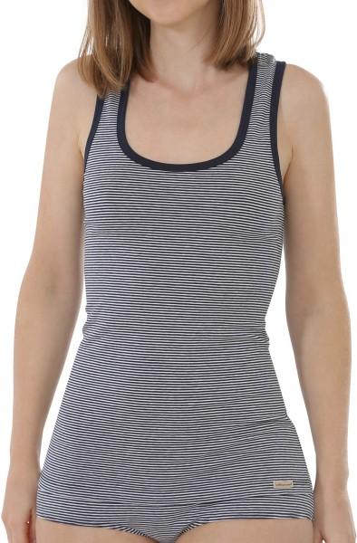 Unterhemd aus Fairtrade Biobaumwolle - marine geringelt