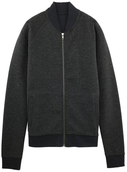 Bomberjacke aus Bio-Baumwolle - dark heather grey/bound black