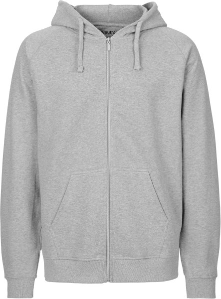 Zip-Up Hoodie aus Fairtrade Bio-Baumwolle - grau meliert
