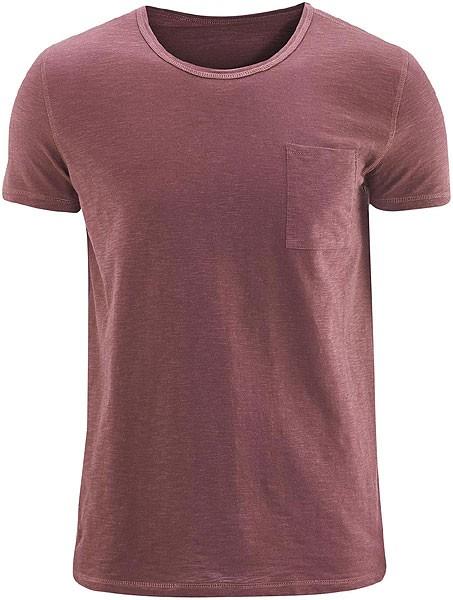 T-Shirt mit Brusttasche aus Biobaumwolle - burgundy - Bild 1