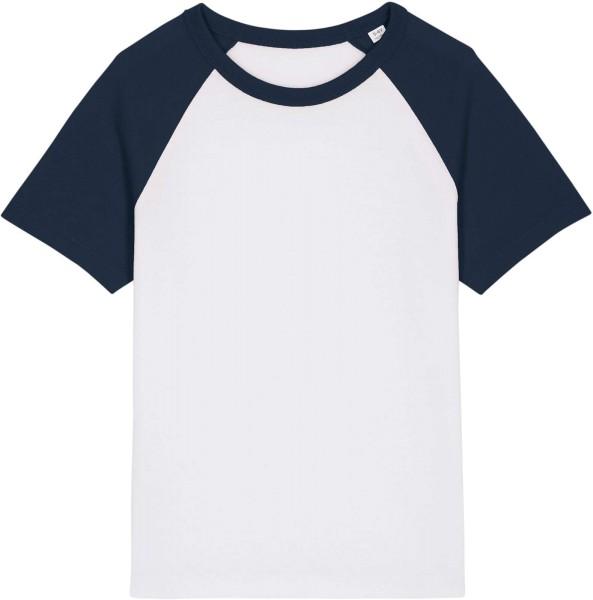 Kinder Baseball-Shirt aus Bio-Baumwolle - white/french navy