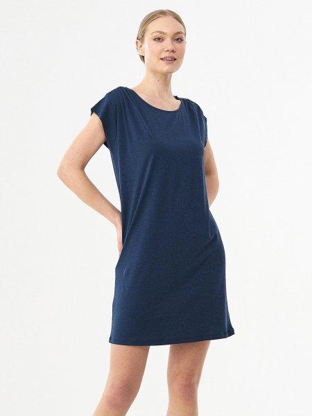 Kurzarm-Kleid aus Tencel & Bio-Baumwolle - navy