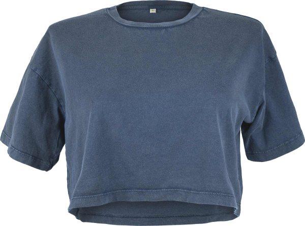Cropped T-Shirt aus Biobaumwolle - stone denim