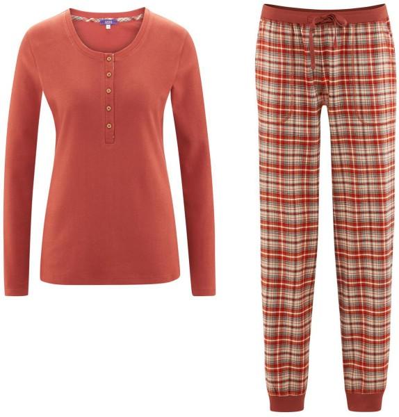 Flanell Schlafanzug Frauen rot kariert Bio-Baumwolle