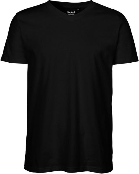 V-Neck T-Shirt Fairtrade Bio-Baumwolle - schwarz