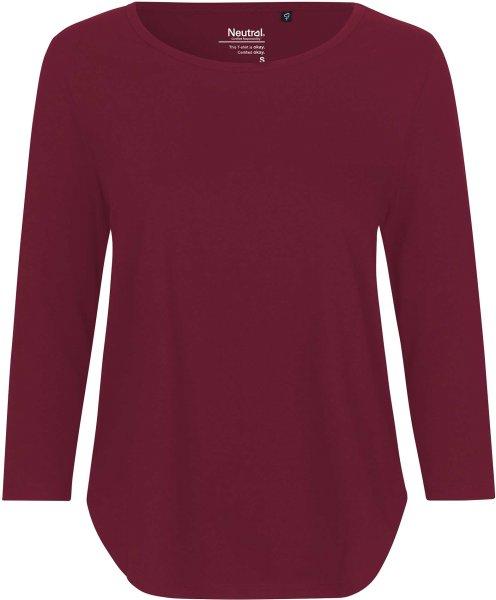 3/4 Sleeve T-Shirt aus Fairtrade Bio-Baumwolle - bordeaux