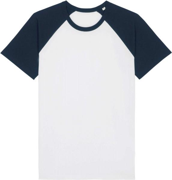 Unisex Baseball-Shirt aus Bio-Baumwolle - white/french navy