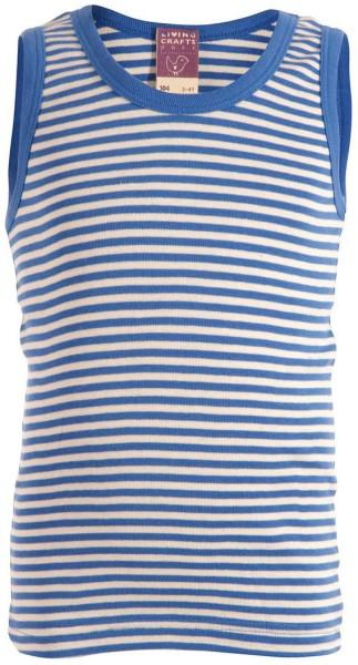 Kinder Unterhemd aus Bio-Baumwolle - blue/natural striped - Bild 1